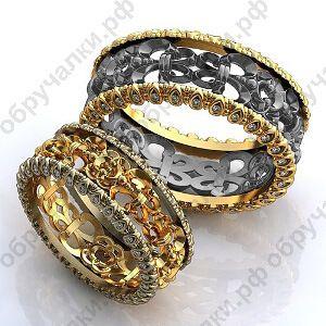 780d88beebc6 Необычные обручальные кольца с черным золотом резным узором и бриллиантами  на заказ